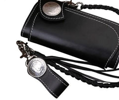 Handmade Mens Cool Black Leather Long Chain Wallet Biker Trucker Wallet with Chain