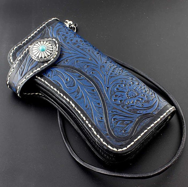 Tooled Handmade Blue Leather Men's Chain Wallet Motorcycle Wallet Long Wallet with Chain For Men