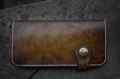 Handmade Mens Vintage Leather Long Biker Wallet Cool Long Chain Wallet for Men