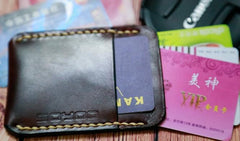 Leather Mens Slim Front Pocket Wallets Leather Cards Wallet for Men