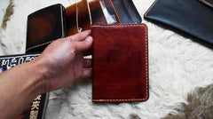 Handmade Leather Mens Small Passport Wallets Travel Wallets for Men