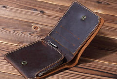 Cool Leather Mens Small Bifold Wallet Short Leather Wallet Slim Wallet For Men