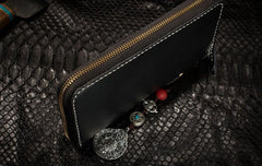 Handmade Leather Python Skin Mens Chain Biker Wallet Cool Leather Wallet Long Phone Wallets for Men