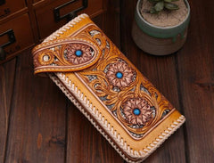 Handmade Mens Cool Tooled Long Floral Leather Chain Wallet Biker Trucker Wallet with Chain
