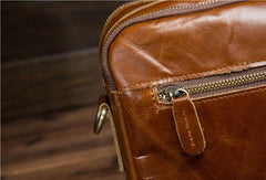 Genuine Leather Messenger Bag Cool Chest Bag Crossbody Bag Travel Bag Hiking Bag for men