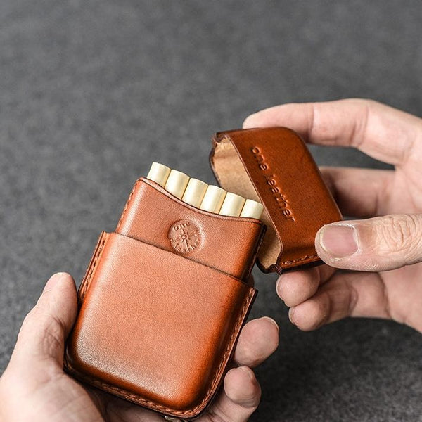 Handmade Brown Leather Mens 11pcs Cigarette Holder Case Cool Custom Cigarette Case for Men