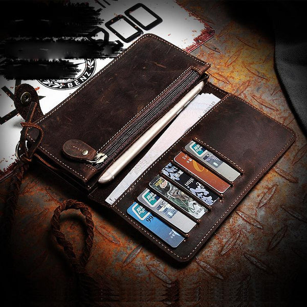 Coffee Leather Mens Bifold Long Biker Wallets Biker Chain Wallet Long Trucker Wallet for Men