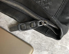 Genuine Leather Braided Mens Clutch Cool Slim Wallet Zipper Clutch Wristlet Wallet for Men