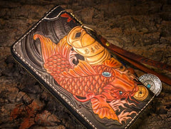 Handmade Leather Carp Mens Long Tooled Chain Biker Wallet Cool Leather Wallet Long Clutch Wallets for Men