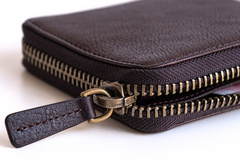 Genuine Leather Mens Cool Short Leather Wallet Men Small Zipper Wallets Bifold for Men