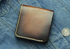 Vintage Coffee Leather Mens Slim Small Wallet Leather Bifold Wallets for Men