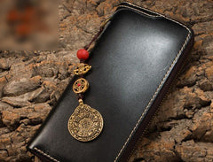 Handmade Leather Mens Chain Biker Wallet Cool Leather Wallet Long Phone Wallets for Men