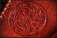 Handmade Leather Men Tooled Chinese Lion Cool Leather Wallet Long Phone Wallets for Men
