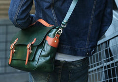 Green Leather Mens Briefcase Messenger Bag Handbag Shoulder Bag for men