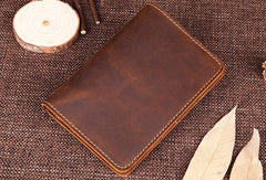 Handmade Genuine Leather Slim Wallet Bifold Long Wallet Passport Purse Bag For Mens