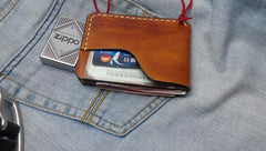 Brown Leather Mens Slim Front Pocket Wallets Leather Cards Wallet for Men