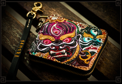 Handmade Leather Maheshvara Tooled Mens Short Wallet Cool Chain Wallet Biker Wallet for Men