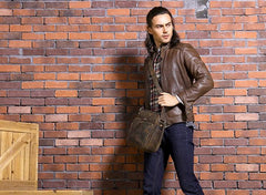 Cool Leather Vintage Mens Messenger Bags Small Shoulder Bags for Men