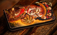 Handmade Leather Mahākāla Mens Tooled Chain Biker Wallet Cool Long Leather Wallets With Chain Wallets for Men