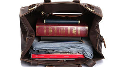 Vintage Leather Mens Large Doctor Style Weekender Bag Travel Bag Duffle Bag