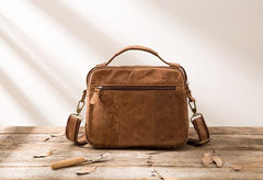 Cool Leather Small Mens Messenger Bags Small Shoulder Bags  for Men
