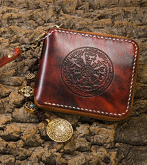 Handmade Leather Mens Short Chain Biker Wallet Cool Leather Wallet Small Wallets for Men