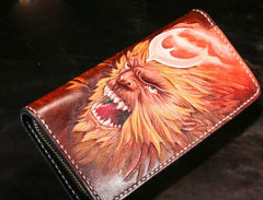Handmade Leather Men Tooled Monkey King Cool Leather Wallet Long Phone Wallets for Men