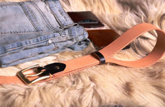 Handmade Beige Leather Mens Belt Leather Belt for Men
