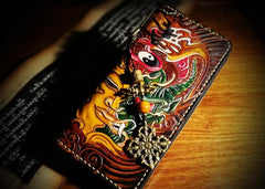 Handmade Leather Mens Tooled Buddha&Demon Chain Biker Wallet Cool Leather Wallet Long Clutch Wallets for Men
