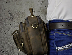 Vintage Leather Belt Pouches Mens BELT BAG Small Vertical Side Bag Handbag For Men