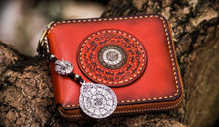 Handmade Leather Small Tibetan Tooled Mens billfold Wallet Cool Chain Wallet Biker Wallet for Men