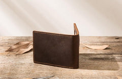 Coffee Cool Leather Mens Slim Small Wallets Bifold Vintage Short Wallet for Men