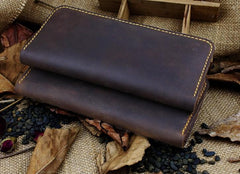 Handmade Leather Mens Cool Travel Long Wallet Card Holder Card Slim Clutch Wallets for Men