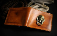 Handmade Leather Lion Mens Short Wallet Cool Leather Wallet Slim Wallet for Men