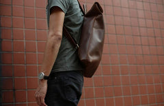 Cool Black Mens Leather Backpack Travel Backpacks School Backpacks for men
