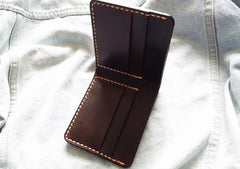 Leather Mens Slim Coffee Front Pocket Bifold Small Wallets Card Wallet for Men