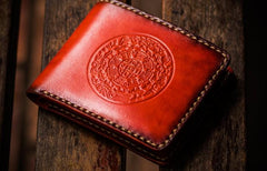 Handmade Leather Tibetan Tooled Mens billfold Wallet Cool Leather Wallet Slim Wallet for Men