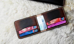 Vintage Leather Mens Slim Coffee Small Wallet Leather Bifold Wallets for Men