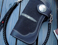 Handmade Leather Long Biker Wallet Mens Cool Chain Wallet Trucker Wallet with Chain