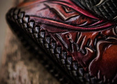 Handmade Leather Prajna Ghost Mens Tooled Long Chain Biker Wallet Cool Leather Wallet With Chain Wallets for Men