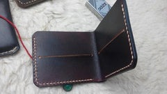 Handmade Vintage Leather Mens Slim Small Wallet Leather Bifold Wallets for Men