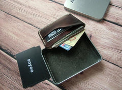 Handmade Leather Mens Slim Front Pocket Wallets Leather Cards Wallet for Men