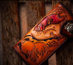 Handmade Leather Tooled Buddha&Demon Mens Long Chain Biker Wallet Cool Leather Wallet With Chain Wallets for Men