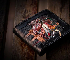 Handmade Leather Fine Horse Tooled Mens billfold Wallet Cool Leather Wallet Slim Wallet for Men