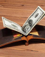 Slim Mens Leather Wallet Short Wallet Slim Bifold Small Wallet with Money Clip For Men
