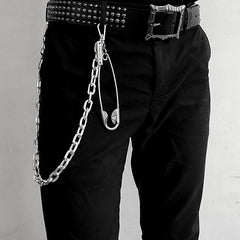 32'' Metal BIKER SILVER WALLET CHAIN LONG Safety Pin PANTS CHAIN JEAN CHAINS FOR MEN