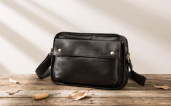 Cool Leather Black Mens Messenger Bag Vintage Shoulder Bag  for Men