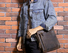 Cool Coffee Vintage Leather Mens Messenger Bags Shoulder Bag for Men