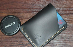 Black Leather Mens Slim Front Pocket Wallets Leather Card Wallet for Men