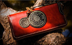 Handmade Leather Tibetan Mens Biker Chain Wallet Cool Long Chain Wallets for Men